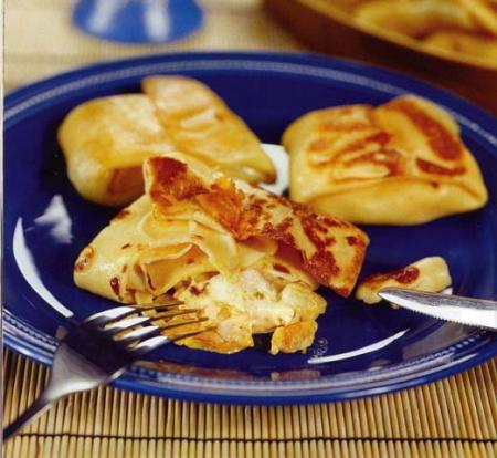 Рецепт блинчиков с креветками и бананом
