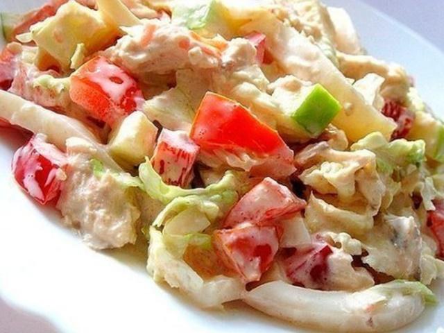 Салат с курицей и болгарским перцем и помидорами рецепты с