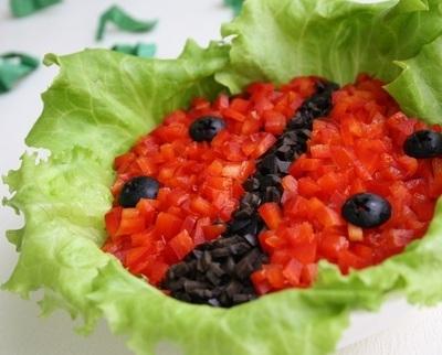 Салат «Божья коровка» - оригинальный, яркий и вкусный праздничный салат к 8 марта.