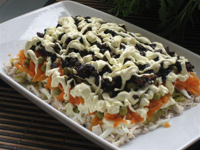 Салат с черносливом и курицей и грибами