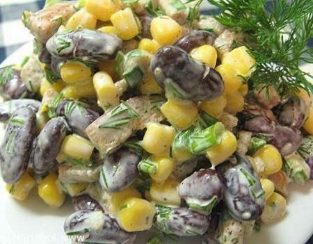 Салат с кириешками с фасолью рецепт очень вкусный
