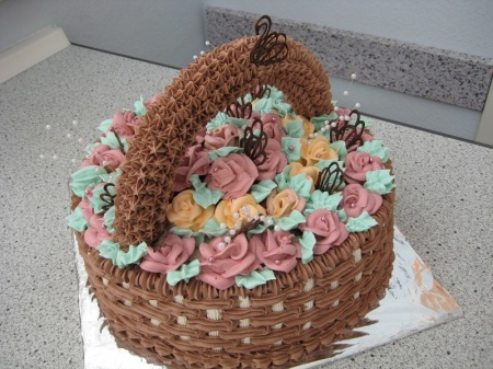 Как сделать торты корзина с цветами