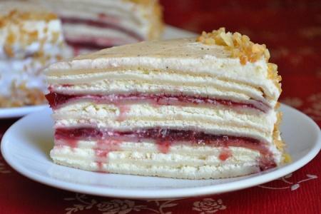 Рецепт блинного торта с творожной начинкой