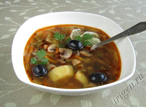 Рецепт приготовления солянки с грибами